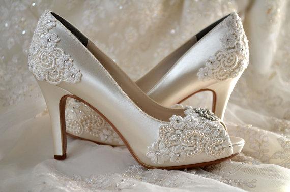 "Wedding - Wedding Shoes - Custom 120 Color Choices- PB525A Vintage Wedding Lace Peep Toe 3 1/4"" Heels, Women's Bridal Shoes"