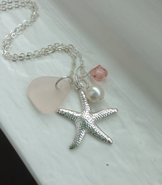 زفاف - Pink Sea Glass Necklace. Beach Wedding Jewelry. Starfish Necklace.