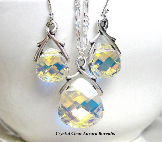 Mariage - Crystal Pendant Bridal Jewelry Set Bridesmaids Gift Wedding Jewelry Set Bridesmaids Jewelry Set
