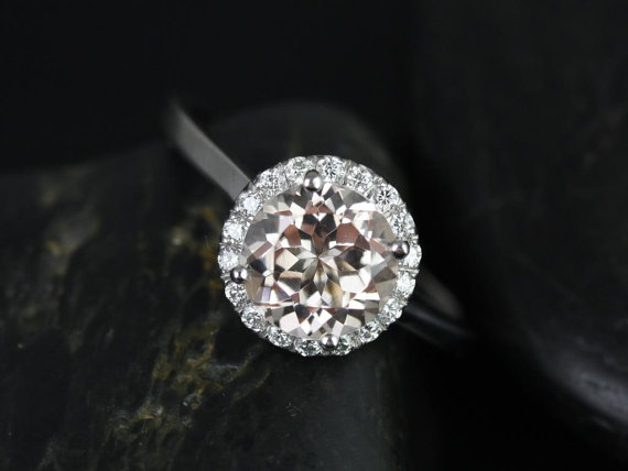Wedding - Monique 8mm 14kt White Gold Round Morganite and Diamonds Halo Engagement Ring (Other metals and stone options available)