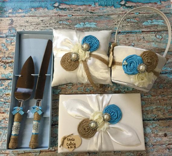 زفاف - YOU DESIGN / flower girl basket , ring bearer pillow , guest book , cake knife set / burlap and Turquoise