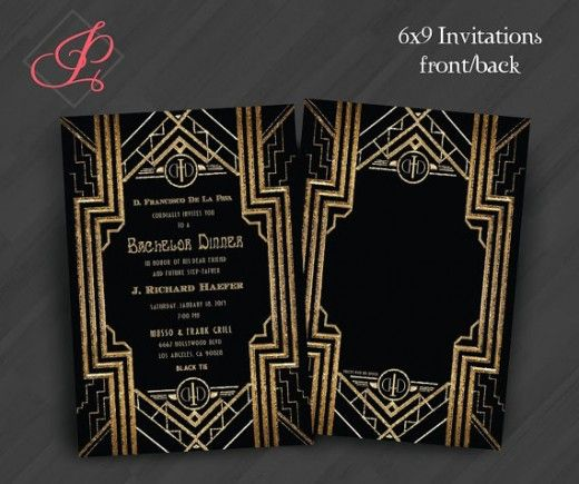 Wedding - Great Gatsby Monogram Invitations Or For Your Special Event (Shown For Holiday Party In Black/Gold)