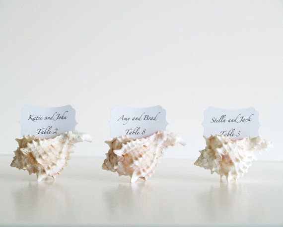 زفاف - Beach Wedding Place Cards, Wedding Table Decorations, 10 Shell Seating Holders Sea White Pink Shabby Chic Favor Baby Shower