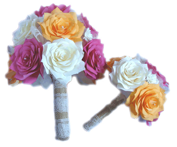 Wedding - Hot pink Bridal bouquet package, Begonia bouquet, Tangerine bouquet, Paper bouquets, Burlap Bouquet, Fake flower bouquets, Vintage bouquets