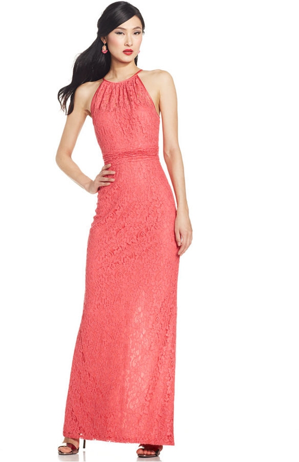 Adrianna Papell Illusion Lace Halter Gown #2223701 - Weddbook