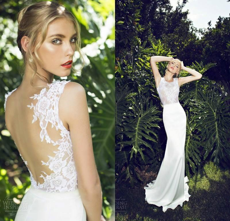 2015 Lace Spring Wedding Dresses Sleeveless Jewel Neck