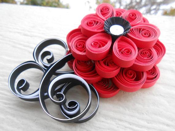 Red White Black Flower Hair Piece Quilled Paper Wedding