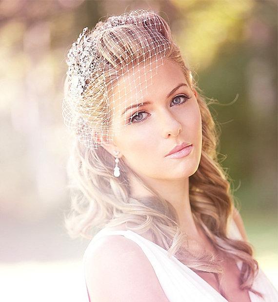 Mariage - Petite Birdcage Veil with Swarovski Rhinestones, Wedding veil, Bridal Veil, Wedding hair Accessory