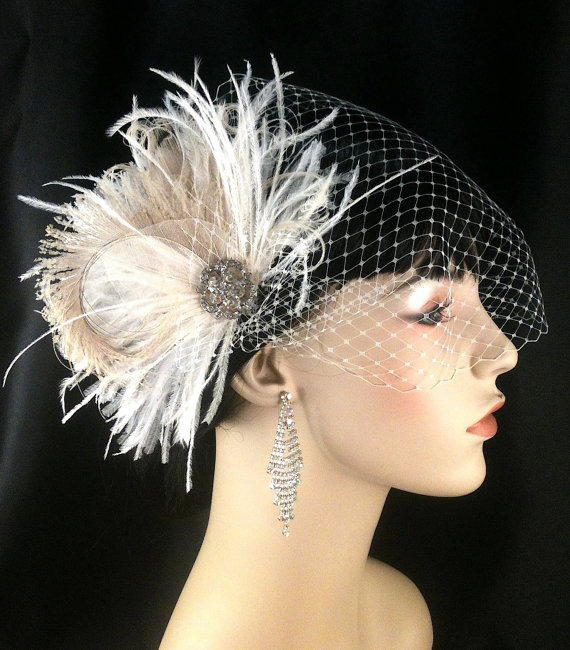 Hochzeit - New Rock On  - Bridal Feather Fascinator, Bridal Headpiece, Wedding Veil, Wedding Fascinator, Feather Fascinator