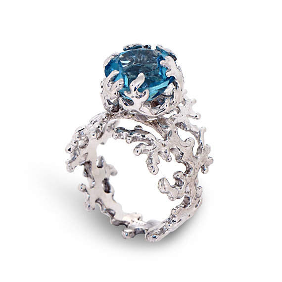 CORAL Blue Topaz Engagement Ring Statement Ring Silver Blue Topaz