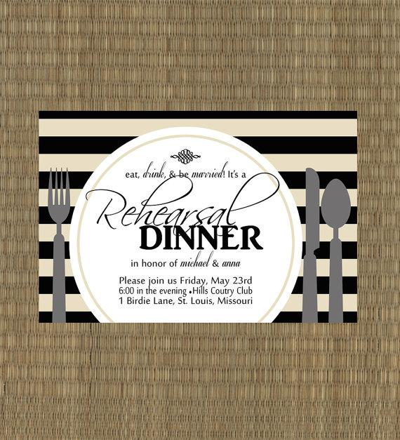 زفاف - Printable Rehearsal Dinner Invitation- Black and Tan Rehersal Dinner Invitation