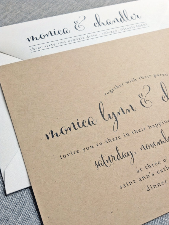 Mariage - Monica Calligraphy Script Recycled Kraft Wedding Invitation Sample