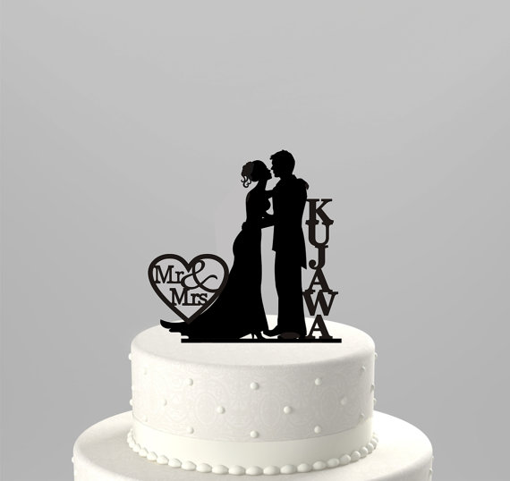 Hochzeit - Wedding Cake Topper Silhouette Couple Mr & Mrs Personalized with Last Name, Acrylic Cake Topper [CT43n]