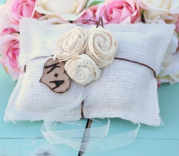 Hochzeit - Burlap Ring Bearer Pillow Personalized Wood Heart Charm (item PI10038)