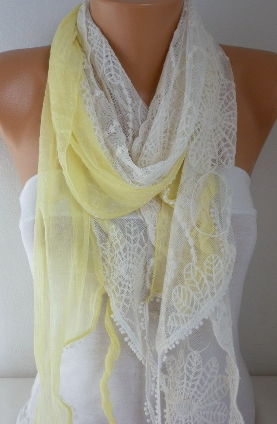 Свадьба - Yellow Lace Scarf  Floral Scarf Shawl Scarf -  Cowl - bridesmaid gifts best selling item scarf Women's Fashion Accessories