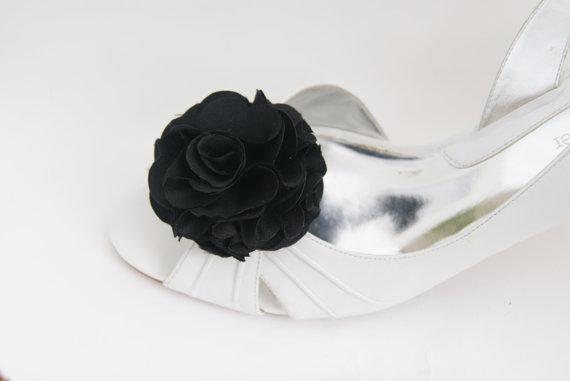 Свадьба - simple black shoe clips flower in satin fabric