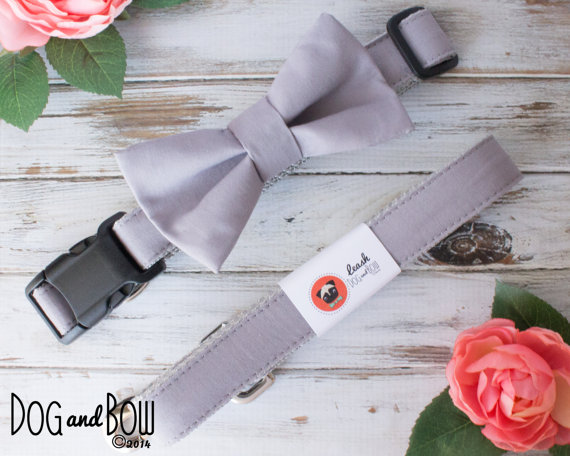 Свадьба - Light Gray Dog Collar with Optional Removable Bow Tie
