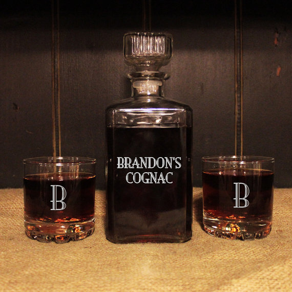Gifts For Man Cave Bar : Personalized whiskey decanter set with glasses engraved