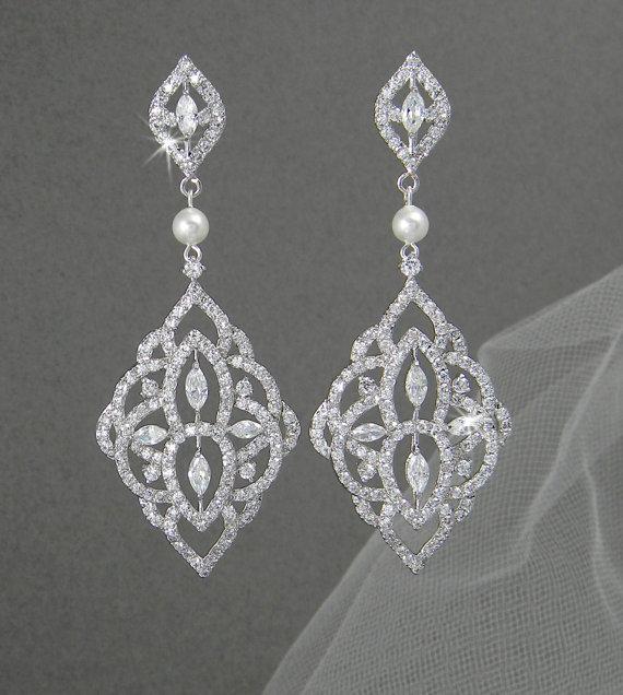 Mariage - Crystal Bridal earrings, Chandelier Pearl Wedding jewelry Swarovski Crystal Wedding earrings Bridal jewelry, Mackenzie Earrings