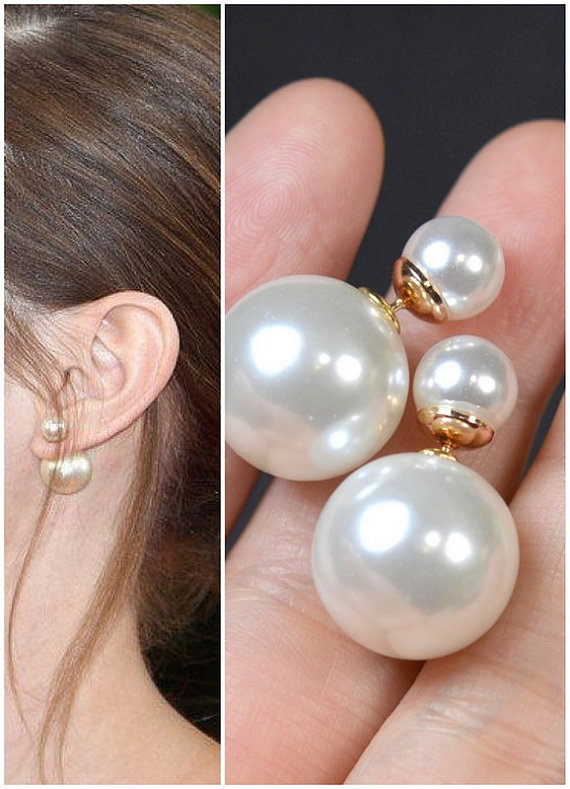 Dior Double Pearl Earring Gold Mise En Pearl Earrings Snow
