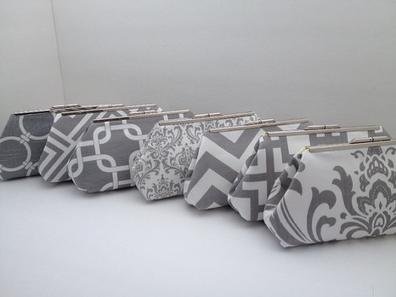 Hochzeit - Multiple Clutch Discount for Grey and White Clutch Purses with Nickel/Silver Finish Frame, Bridesmaid Clutch, Purse, Wedding, Nautical