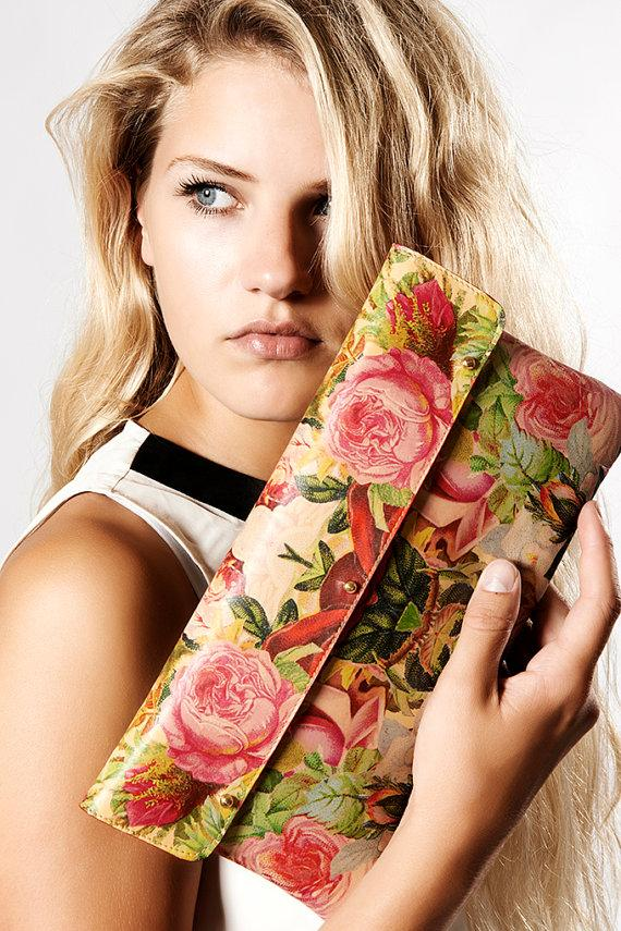 Hochzeit - Leather Clutch Bag / Wedding clutch / Shoulder Bag / Evening Bag - Decoupage Roses
