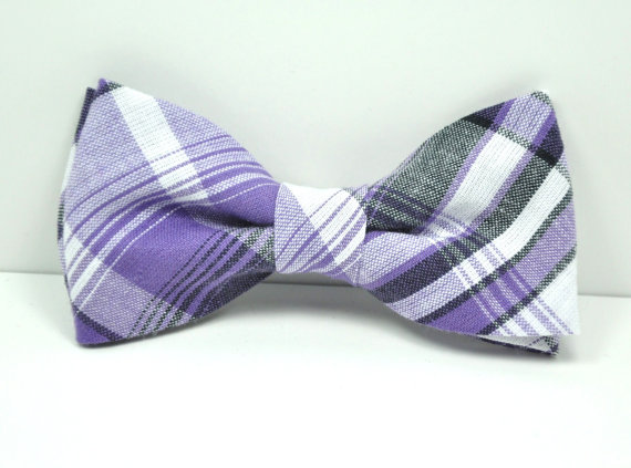 Свадьба - Purple and Gray Plaid Men's Bow Tie, Plaid Bowtie, Groomsmen Tie, Men's Tie