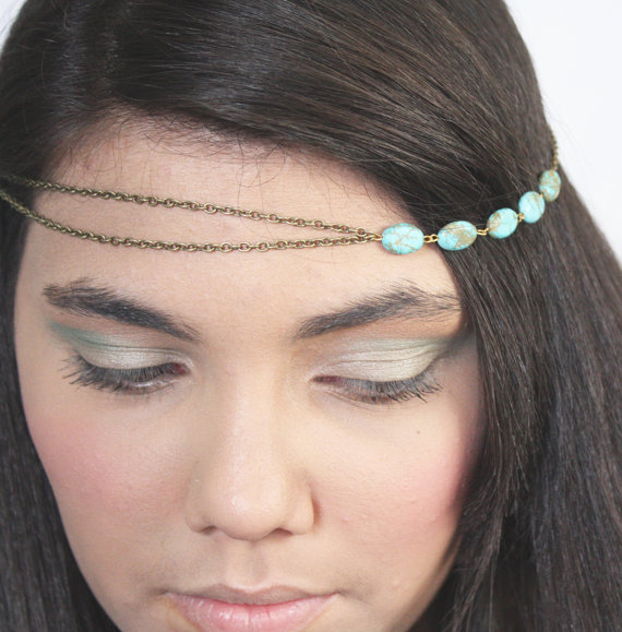 Mariage - Chain Headpiece Headband  Hair PieceBohemian  Hipster Boho Hippie Bronze Turquoise Bridal Statement Jewelry FPCOHPNatalia2