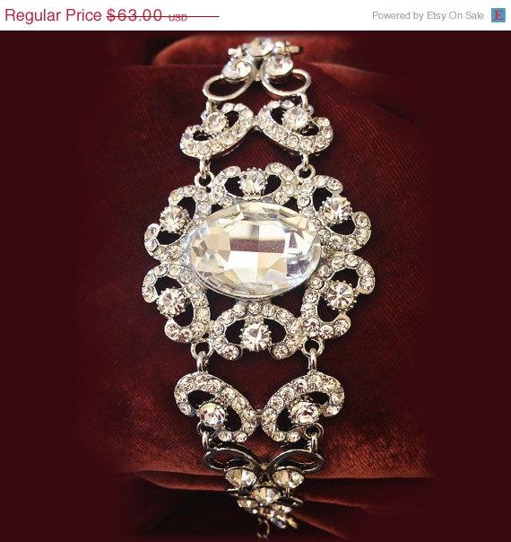 Свадьба - Bridal bracelet, Wedding jewelry,bridal jewelry, bridesmaid bracelet, rhinestone bracelet, crystal bracelet