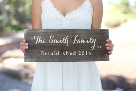 Wedding - Personalized Rustic Wood Flower Girl Ring Bearer Wedding Family Sign (Item Number MHD20009)