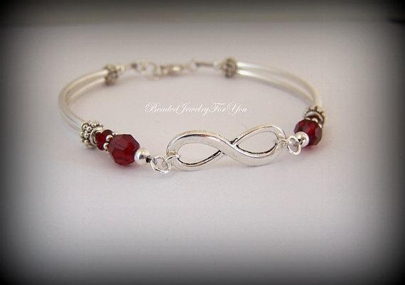 Birthstone Infinity Bracelet Symbol Jewelry Bridal Knot For Bride Friendship