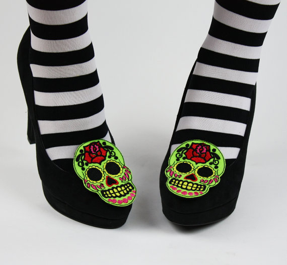 Mariage - Sugar Skull Shoe Clips, Day of the Dead
