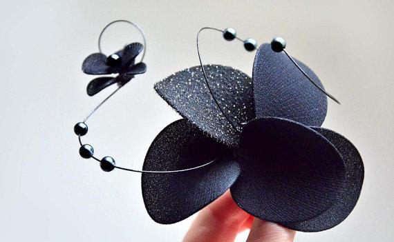 Mariage - Black fascinator Orchid fascinator headband Hair comb Flower girl headband Bridesmaid headpiece Bridal hair flower Wedding hair accessory