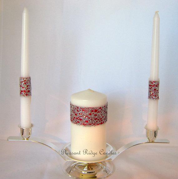زفاف - Red Unity Candle Set Valentine 5.5 inch Pillar 9 inch Pillar Bling Unity Candle Wedding Unity Candle Unity Wedding Candle Cheap Unity Candle