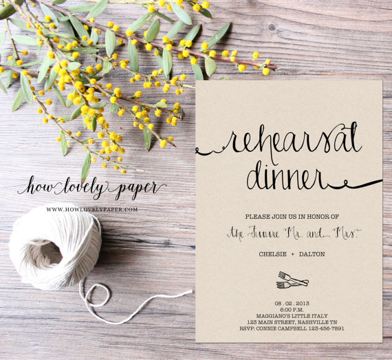 Wedding - Printable Rehearsal Dinner Invitation - the Ella Collection