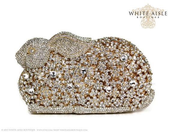 Wedding - Crystal Bunny Clutch, Gold Bridal Clutch, Silver Minaudiere, Wedding Purse, Evening Bag, Luxury Clutch
