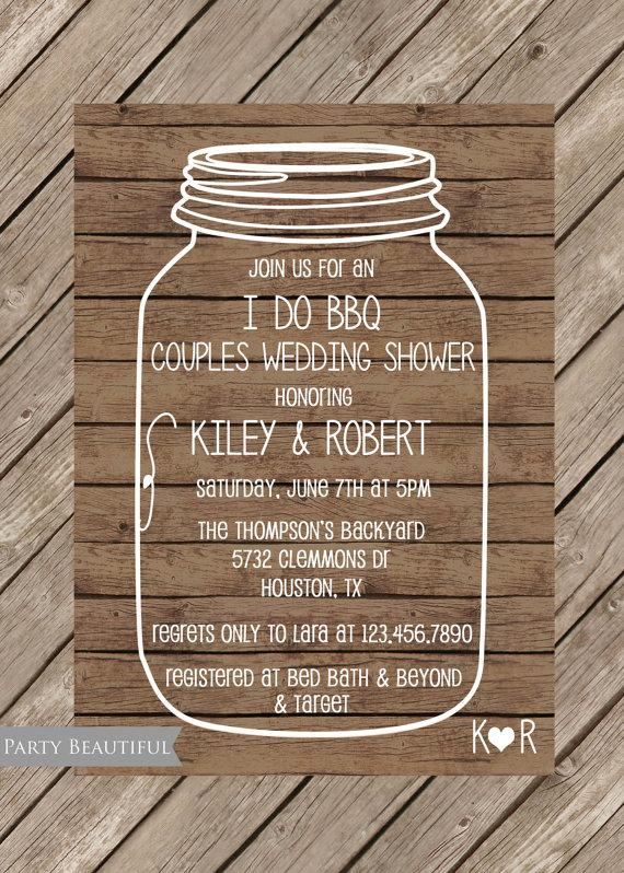 Couples Or Coed Wedding Shower Invitation Rustic I Do BBQ Mason