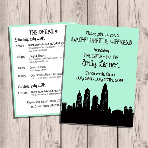 Wedding - Cincinatti Skyline Bachelorette Party Invitation, Custom, with Itinerary, Double-Sided, 5x7