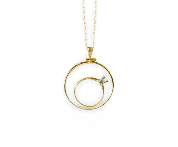 Wedding - Engagement Ring Locket // XXL Clear Yellow Gold Filled Engagement Ring Locket // Extra Extra Large Clear Locket