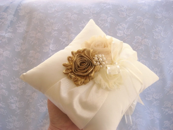 Mariage - Wedding Ring Pillow Ring Bearer Pillow Shabby Chic Vintage Ivory and Cream Custom Colors too