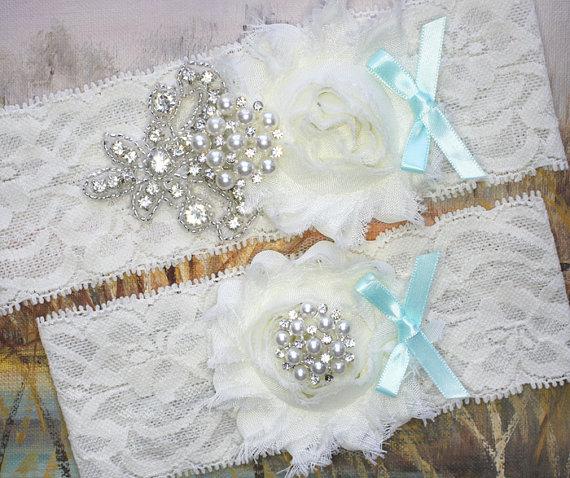 Mariage - NIKKITA - Aqua Bow Shabby Rose Chiffon Wedding Garters, Pearl Rhinestone Bridal Garter Set, Lace Garter, Something Blue