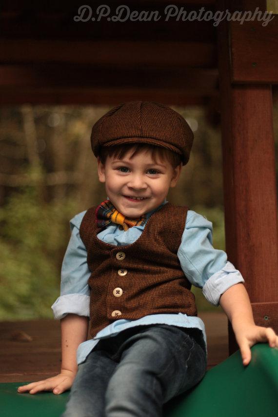 زفاف - Toddler Boy, Boys Vest,  Newsboy Hat, Bow Tie, Ring Bearer, Boys photo prop, photo prop, spring, four tiny cousins, newsboy outfit
