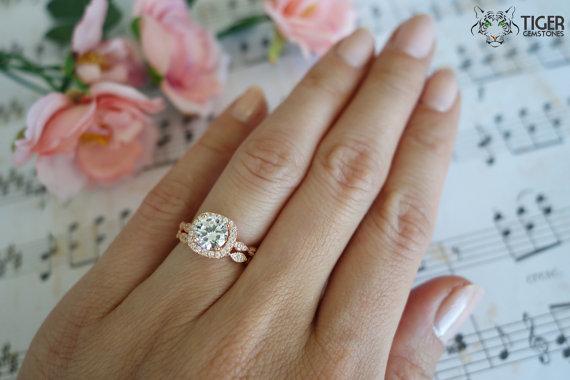 1 25 Carat Halo Wedding Set Vintage Inspired Bridal Rings 2223972