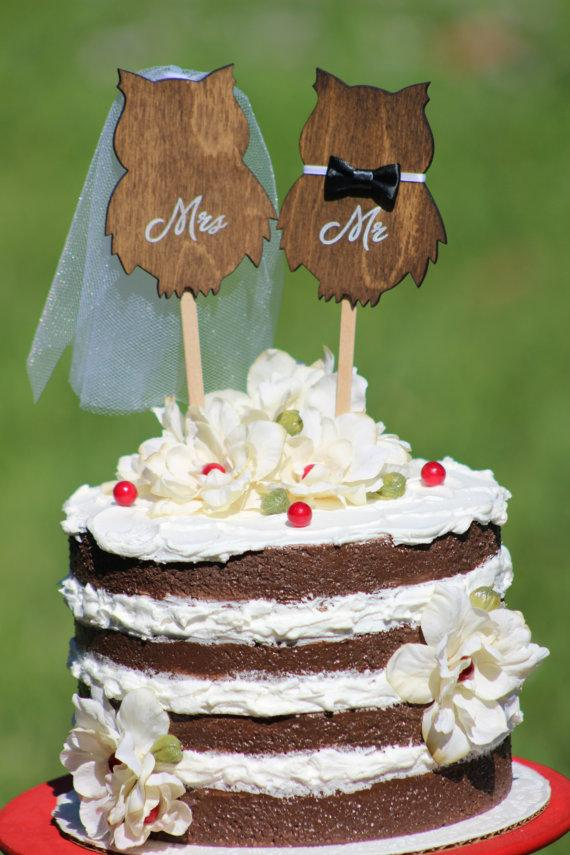Owl Wedding Cake Topper Mr Mrs Rustic Country Chic Wedding - Owl Wedding Cake