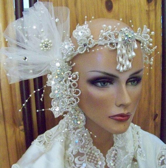 Wedding Veil Bridal Vintage Handmade Couture Statement Head Piece Crown