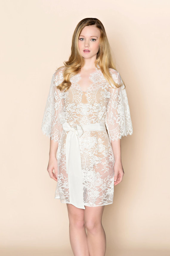 Mariage - Ready to ship - Swan Queen lace kimono bridal robe in ivory - style 100