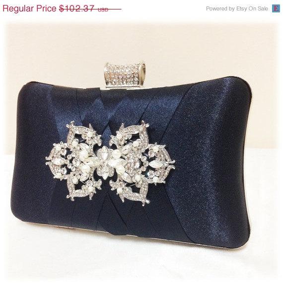 Hochzeit - wedding clutch, formal clutch, Navy blue clutch, evening bag, bridesmaid clutch, bridesmaid bag, crystal clutch