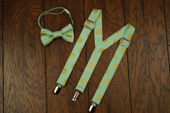 Mariage - mint and gold dot Adjustable suspenders and bow tie set, smash cake outfit, ring bearer, wedding