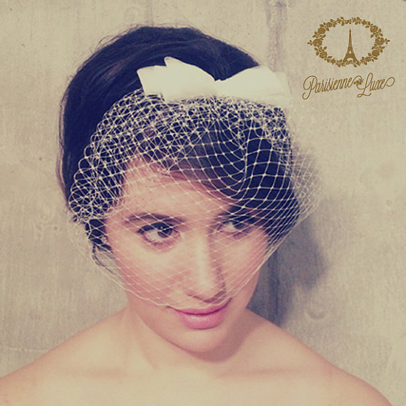 """Mariage - Birdcage Veil with Bow, Russian Netting, Blusher Veil, Bridal Birdcage Veil, Wedding Head Piece, Ivory, White, Champagne, Black """"Cosette"""""""""""