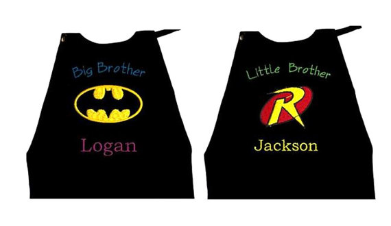 زفاف - Super Hero Batman & Robin Capes, Big Brother, Little Brother Set  Embroidered Personalized